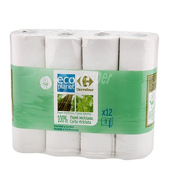 Carrefour Eco Planet Papel higiénico 3 capas Paquete 12 rollos