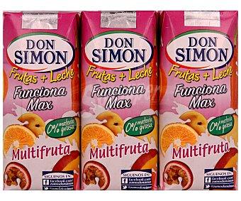 Don Simón Zumo multifruta con leche Brik de 330 mililitros pack de 3