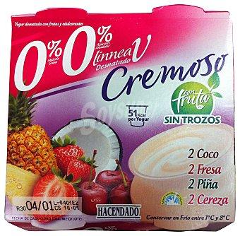 Hacendado Yogur desnatado cremoso con frutas sin trozos 2 coco, 2 fresa, 2 piña, 2 cereza Pack 8 x 125 g - 1 kg