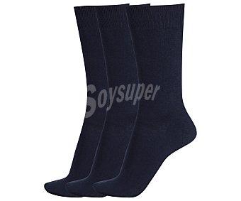 DON POSETS Pack de 3 pares de calcetines clásicos lisos con hilo antipresión, color marino, talla única Pack de 3