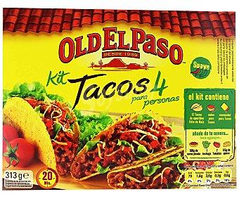 Old El Paso Kit para preparar tacos con tacos de maíz fritos, salsa y sazonador 308 gramos