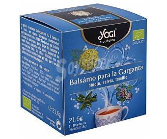 Yogi Tea Infusión ecológica Balsámo para la garganta (hinojo, salvia y tomillo) 12 bolsitas. 21,6 g