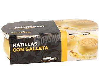 Montero Natillas con Galleta Pack 2 Unidades de 125 Gramos