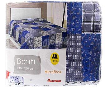 Auchan Boutí de estampado Patchwork bordado líneas en tonos azules, 245x270 centímetros 1 unidad