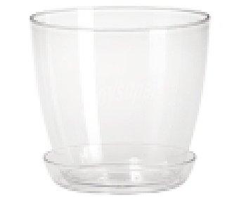 VAN Maceta de plástico, lisa, de color transparente y medidas de 14 x 13 centímetros 1 unidad