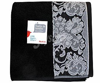 AUCHAN Toalla de algodón para lavabo, estamapado jacquard color negro, 50 x100 centímetros 1 Unidad