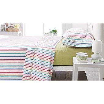CASACTUAL Córdoba Juego de sábanas con rayas multicolores y bajera en verde