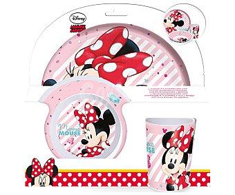 DISNEY MINNIE Set de vajilla infantil fabricadas en melamina, cuenco, plato y vaso con diseño Minnie, disney.