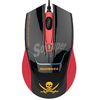 ANSONIC MS-290OU Ratón en color rojo y negro con dibujo de calavera