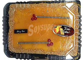 Mercadona Tarta nata yema 20 raciones rectangular pasteleria congelada horno 1400 g