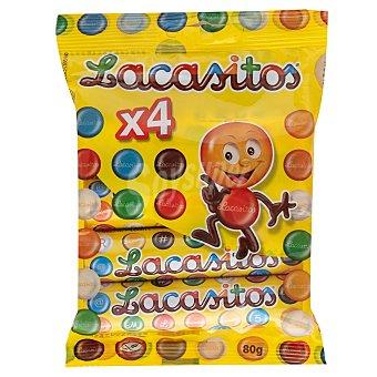 Lacasitos Lacasa Grageas de colores con chocolate Pack de 4 uds. de 80 g