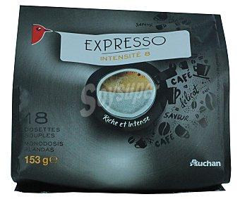 Auchan Café molido de tueste natural espresso en monodosis 18 unidades