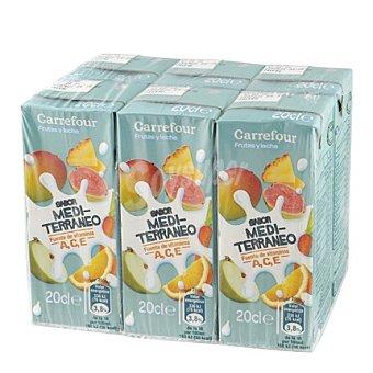 Carrefour Zumo de leche y fruta sabor mediterráneo 6 unidades de 200 ml