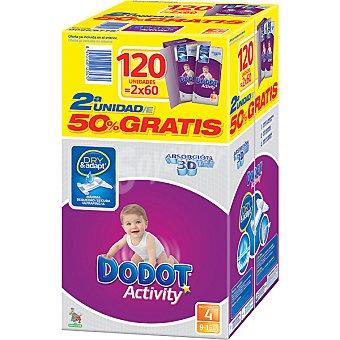 Dodot Activity Pañales de 9 a 15 kg talla 4 Absorción (2ª unidad al 50% incluido en precio) 120 unidades