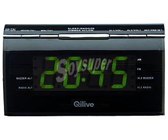QLIVEQ1411 Radio reloj despertador con sintonizador de radio am/fm, doble alarma, pantalla grande, función reostato para regular la intensidad de la luz