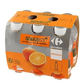 Carrefour Yogur líquido Sanuscol naranja Pack de 6x100 g