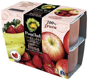 POM'BEL Puré de manzana-fresa-plátano, Sin: azúcar añadido, colorantes, conservantes, gluten ni lactosa Pack 4 Unidades de 100 Gramos