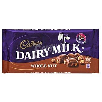 Cadbury Dairy Milk Whole Nut chocolate con leche y avellanas enteras Tableta 200 g