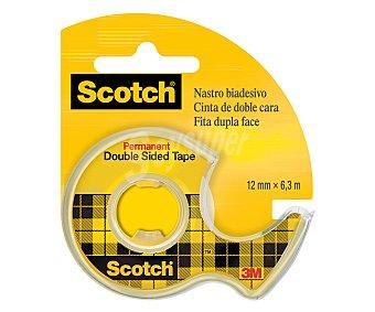 Scotch Rollo de cinta adhesiva de doble cara de 6.3 metros y 12 milímetros + dispensador scotch 1 u