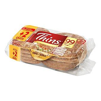 Silueta Bimbo Thins pan para sandwich 100% integral Bolsa 310 g