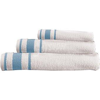 CASACTUAL Estrella juego de 3 toallas Jacquard en color blanco con cenefa en azul