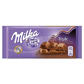 Milka Chocolate leche relleno triple chocolate (galleta, cremoso y líquido con cacao) Tableta 90 g