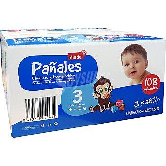 Aliada Pañales unisex de 4 a 10 kg talla 3 elásticos y transpirables  108 unidades (Pack 3 x 36 unidades)