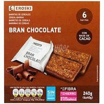 Eroski Barritas bran con chocolate Paquete 240 g