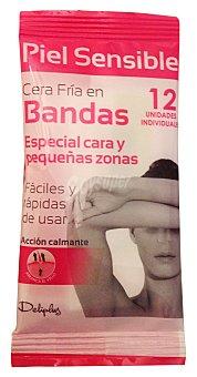 Deliplus Cera depilar fria bandas facial Paquete 12 u