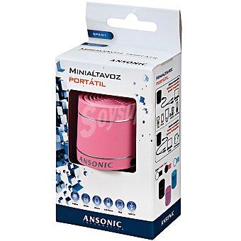 ANSONIC SPK-01-P Mini altavoz portátil con USB en color rosa