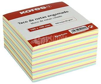 Kores Taco de 500 notas engomadas, cuadradas, de , de 100 x 100 mm y de colores pastel kores 80 g
