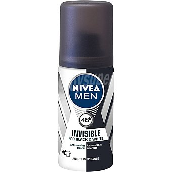Nivea For Men Desodorante Black & White invisible Power anti-manchas para hombre tamaño viaje Spray 35 ml