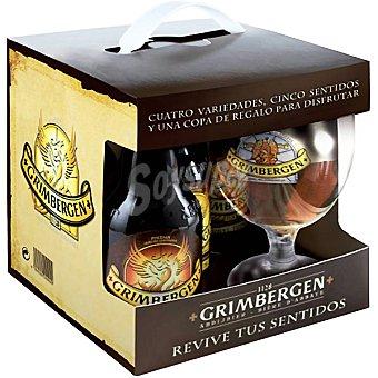 GRIMBERGEN cerveza rubia belga  pack 3 botellas 33 cl + copa