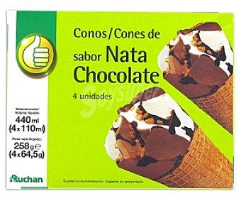 Productos Económicos Alcampo Cono Nata y Chocolate 4 Unidades de 125 Gramos