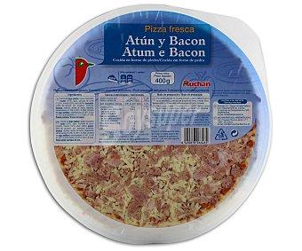 Auchan Pizza de atún y bacón cocida en horno de piedra 400 gramos