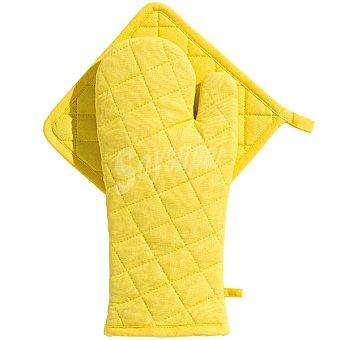 CASACTUAL Araceli set de manopla y agarrador acolchados en color amarillo