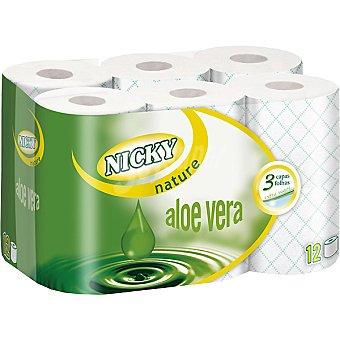 Nicky Papel higénico Aloe Vera extra suave 3 capas Paquete 12 rollos