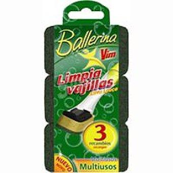 BALLERINA Estropajo Rec Limpia Vajillas 3 Unidades
