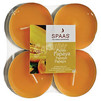 SPAAS Velas calientaplatos perfumadas aroma Papaya paquete 4 unidades Paquete 4 unidades