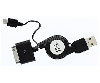 TNB CRISMART1 Cable retarctil para ipod/micro USB color negro