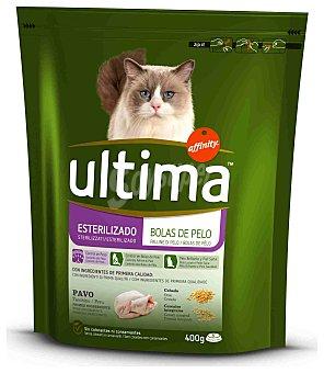 ULTIMA Alimento control bolas de pelo gato esterilizado Paquete de 400 g