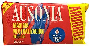 Ausonia Compresa absorción normal ultra plegadas alas Paquete 26 u