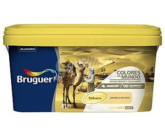 Bruguer Pintura plástica monocapa de interior, de color amarillo Sahara y acabado natural, de la serie Colores del mundo 4 lltros