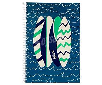 MIMBEK Cuaderno DIN A4 con cuadricula de 4x4 milímetros, 80 hojas de 90 gramos, tapas extraduras de color azul con dibujos de unas tablas de Surf y microperforado con encuadernación con espiral metálica 1 unidad