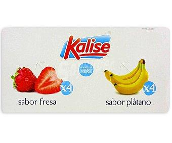 Kalise Yogur de sabor a fresa (4) y plátano (4) 8 x 125 g