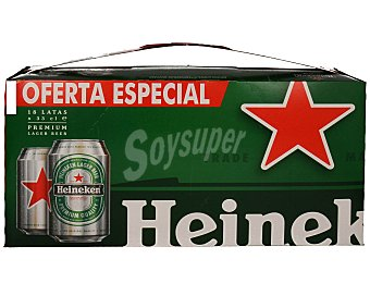 Heineken Cerveza rubia Holanda pack 18 latas 33 cl Pack 18 latas 33 cl