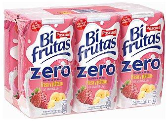 Bifrutas Pascual Fresa y platano zumo de fruta con leche y vitaminas pack 6 envases 200 ml