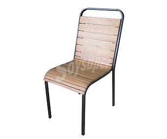 Ikone Silla apilable para jardín, con estructura de acero de color negro, respaldo y asiento en madera de eucalipto de alta calidad 100% FSC y tratada con aceite y medidas de 57.5x43.5x90.5 centímetros, modelo Easyway 1 unidad