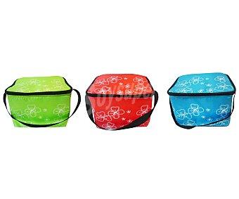 Productos Económicos Alcampo Bolsa nevera con capacidad de 5 litros, bandolera, cierre de cremallera y diseño de divertidos colores con flores blancas de fondo 1 unidad