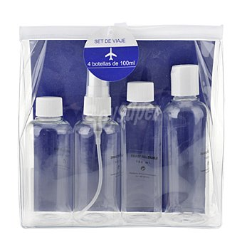 Bermudez Neceser de viaje botellas rellenables 4 ud